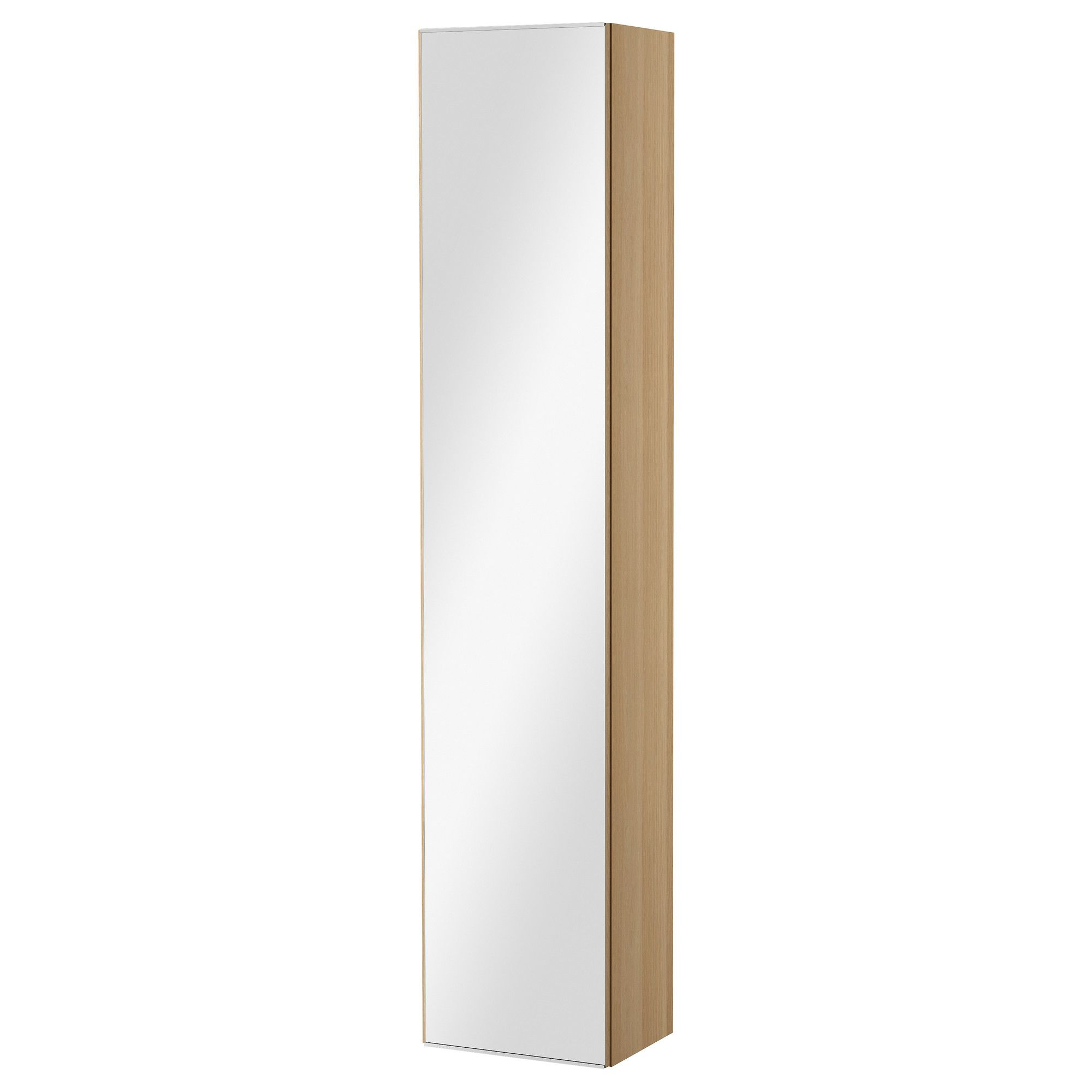 GODMORGON High cabinet with mirror door - white stained oak effect ...