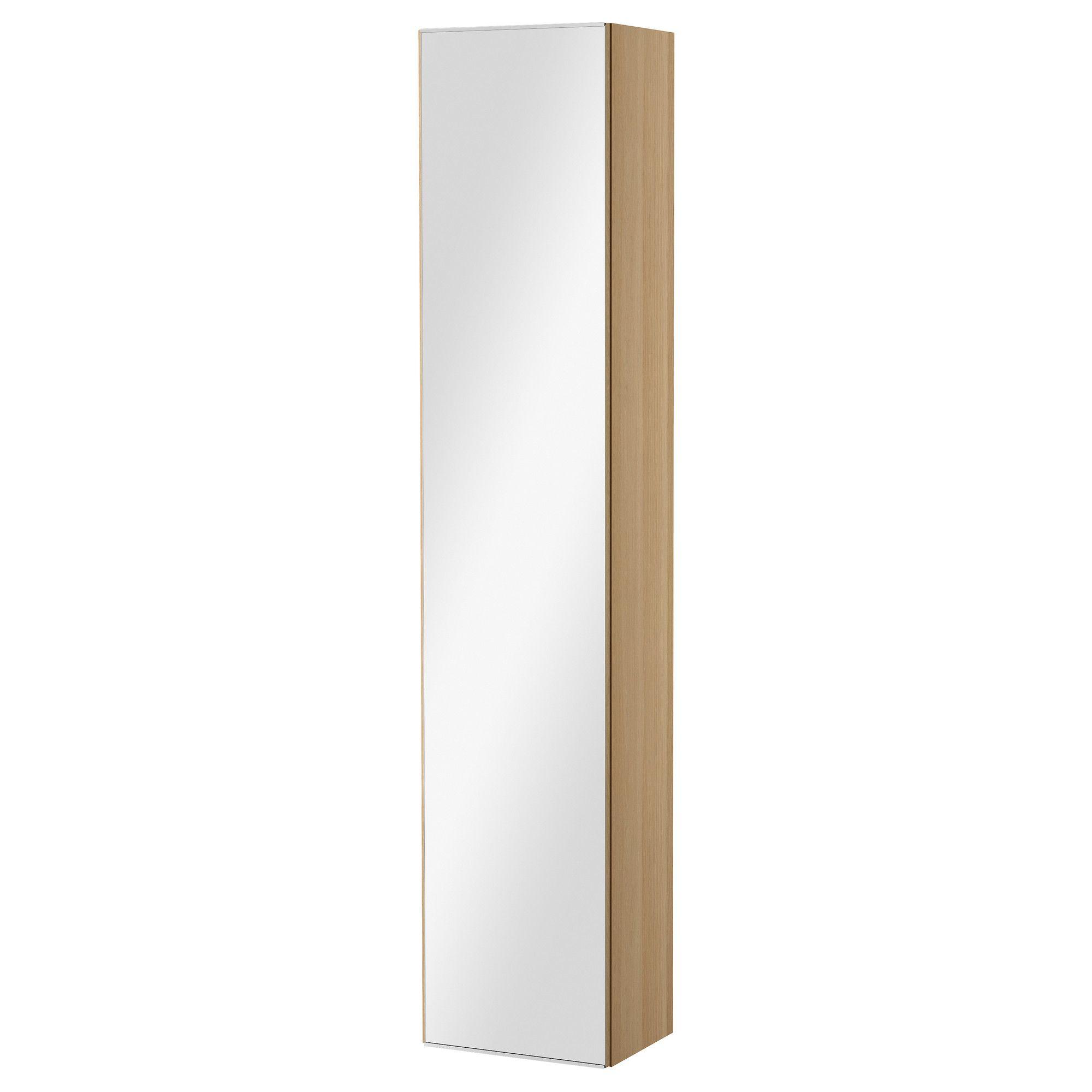 Ikea Bathroom Doors Godmorgon High Cabinet With Mirror Door White Stained Oak Effect