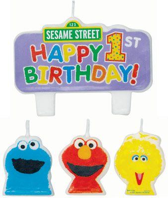 Sesame Street 1st Birthday Molded Cake Candle Set