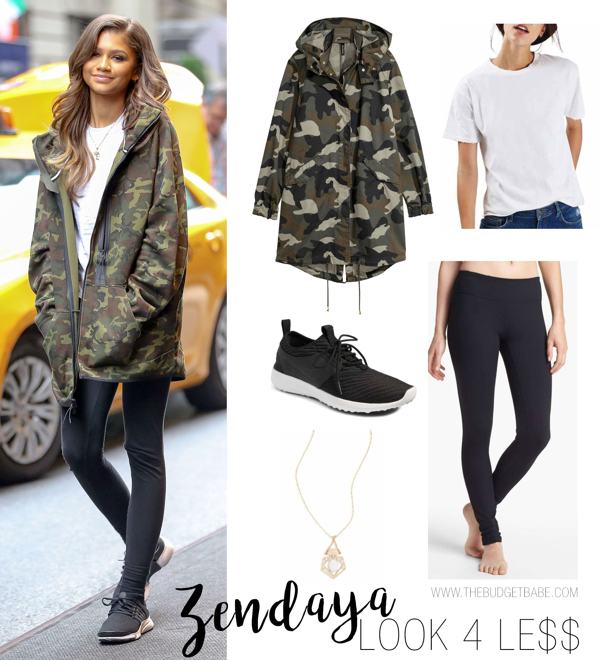 869d23fd32d2 Zendaya camo jacket and sneakers casual fall outfit idea Celebrity Look