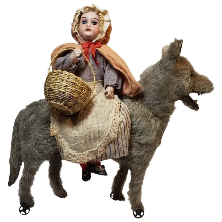 Early Little Red Riding Hood Bisque Doll with Mohair Wolf on Wheels #littledolls