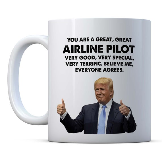 f54c6d2bc48 Airline Pilot Trump Funny Gift, Airline Pilot Birthday Gift, Gift ...
