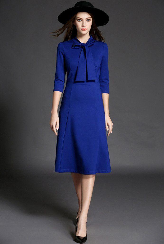 187af2aac812 Long Sleeve Royal Blue Midi Dress