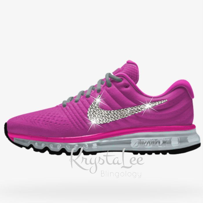 Womens Nike Air Max 2017 iD Fire Pink Custom Bling Crystal Swarovski  Sneakers, Running Shoes