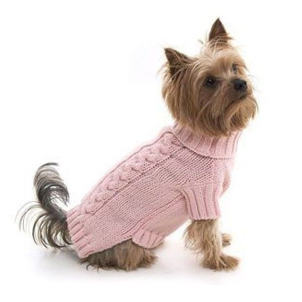 Pink Cable Knit Dog Pullover