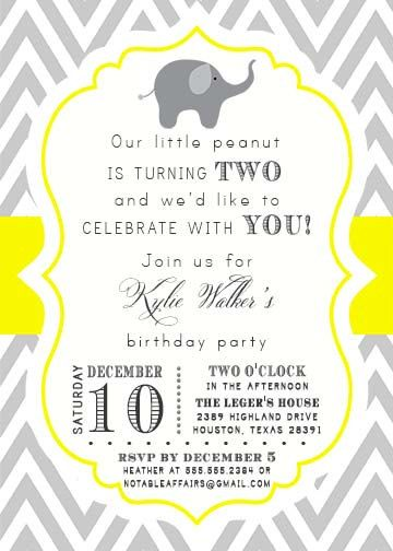 Gray and Yellow Chevron Elephant Second Birthday 2nd Birthday