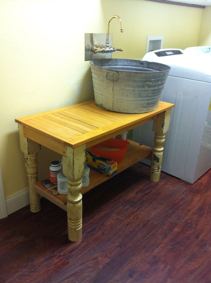 Laundry Sink Made From Old Wash Tub, Old Claw Foot Faucet, And A Table