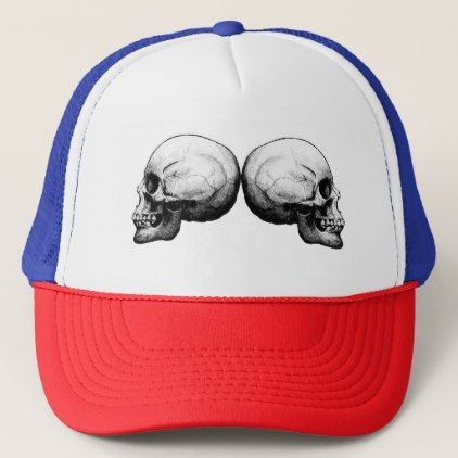 Profile Skull Black and White Trucker Hat - black gifts unique cool diy customize personalize