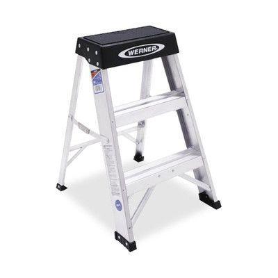 Werner Step Stool 300 Lb Cap 6 X12 3 8 Platform 24 H Aluminum Step Stool Step Ladders Stool