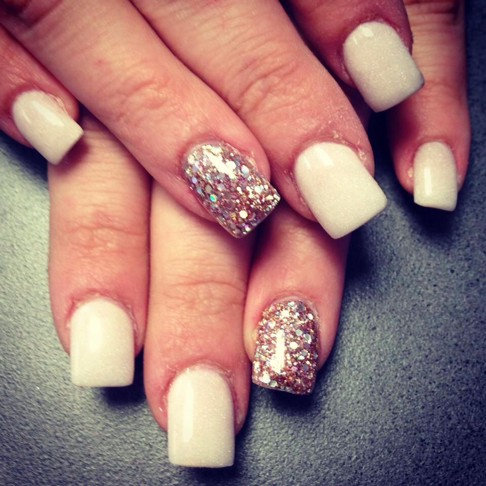 Pearl White With Accent Champagne Nail Love My New Set Champagne Nails Nails Cute Nails