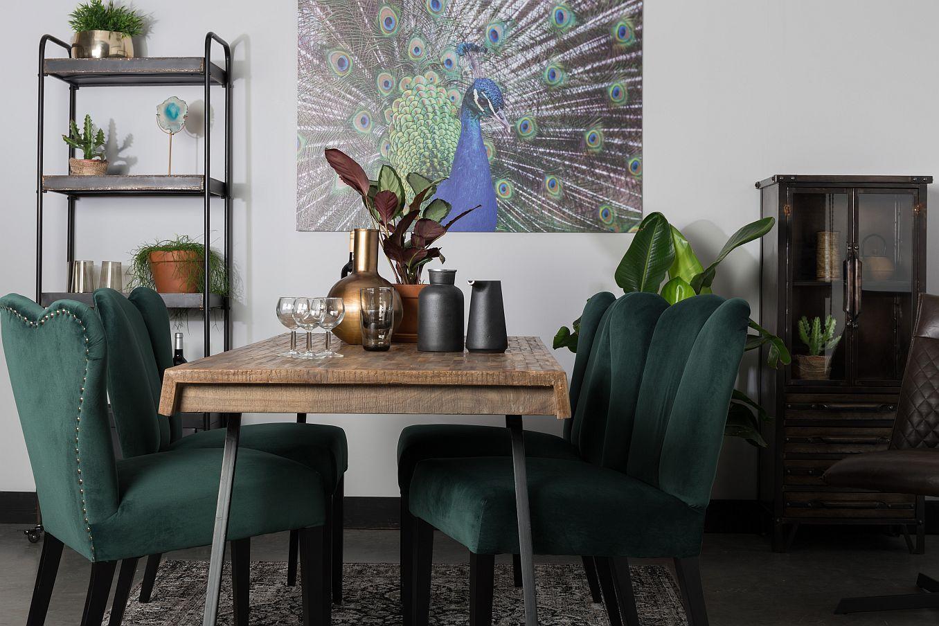 Fluwelen Stoel Groen : Deze groene fluwelen eetkamerstoelen zorgen voor een luxe