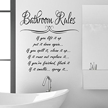 bathroom rules wall sticker quote | bathrooms | pinterest | bathroom