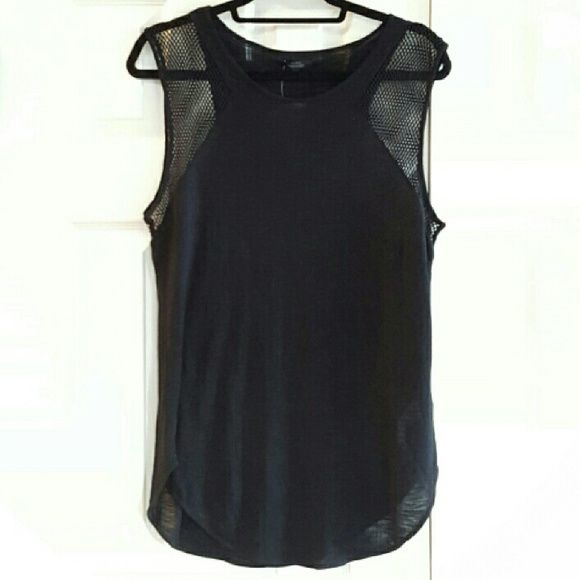 NWT Zara Trafaluc knit and netting top New never worn. No stains, no rips. Silky feel with netting on the shoulders and sleeves. Zara Tops Tank Tops
