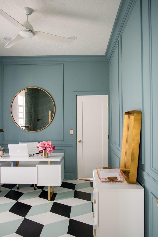 One Room Challenge Woche 5 Runde Badezimmerspiegel Challenge Leuchtstoffrohre