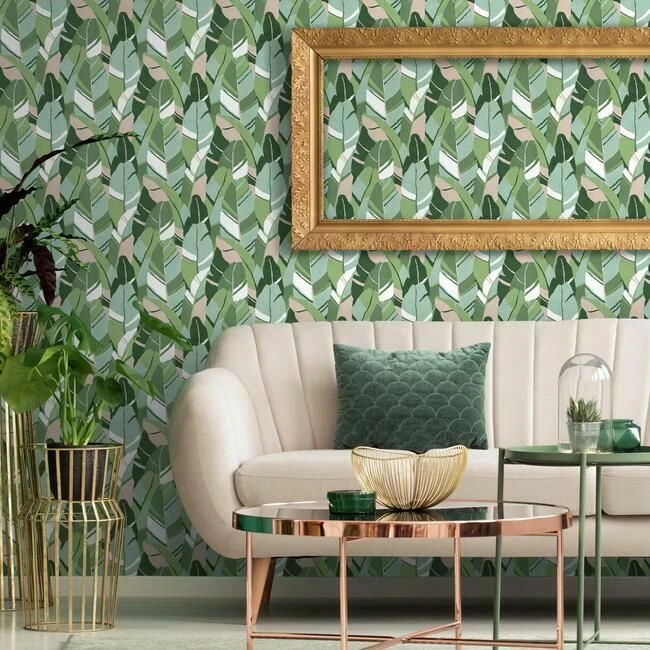 Hearts Of Palm Peel Stick Wallpaper In Aqua And Blush By Roommates F In 2020 Peel And Stick Wallpaper Wall Coverings Room Visualizer