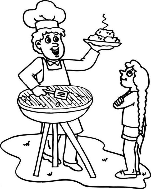 Barbecue On Father S Day Coloring Picture For Kids Fathers Day