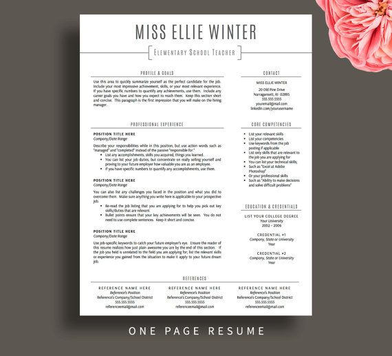 Teacher Resume Template for Word \ Pages, Resume Cover Letter + - one page resume template word