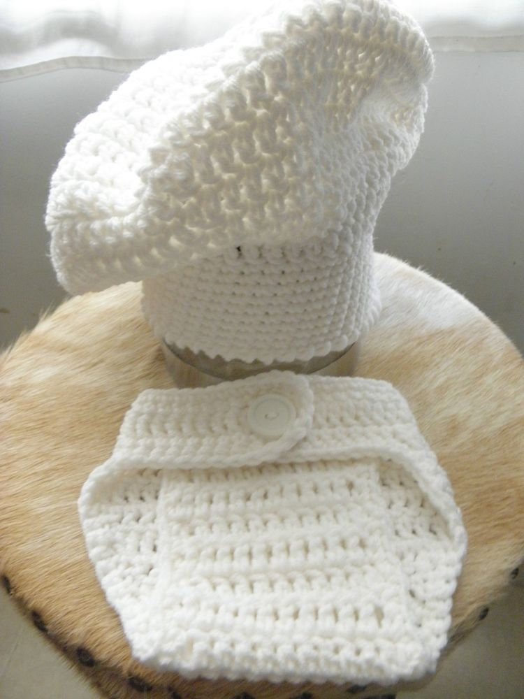 Baby Newborn Crochet Chef with Diaper Cover Hat Photography Photo ...