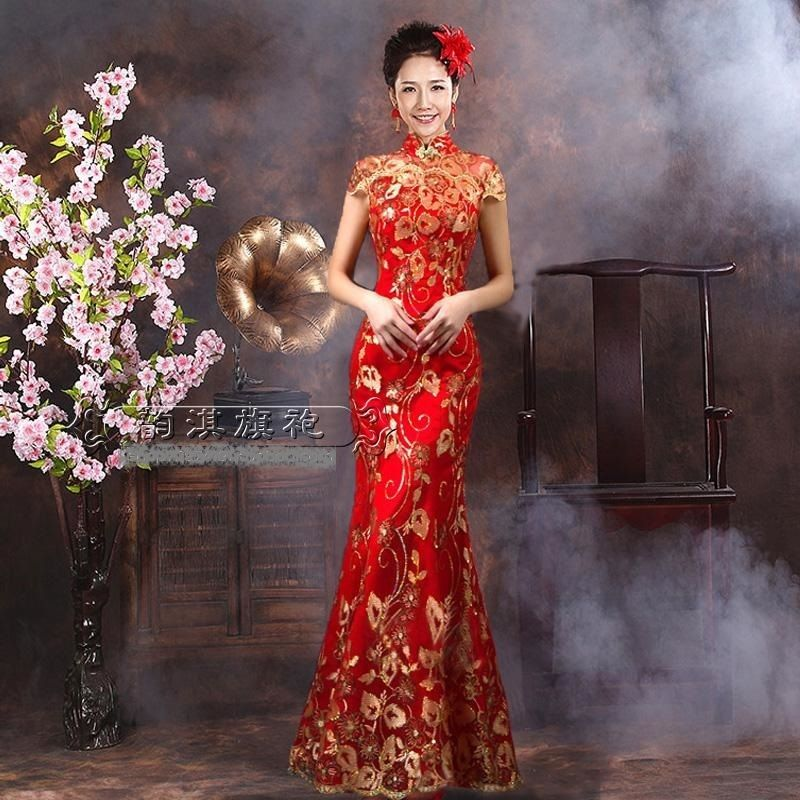 Chinese wedding dress kua kwa qipao cheongsam 2c custom for Traditional chinese wedding dress hong kong