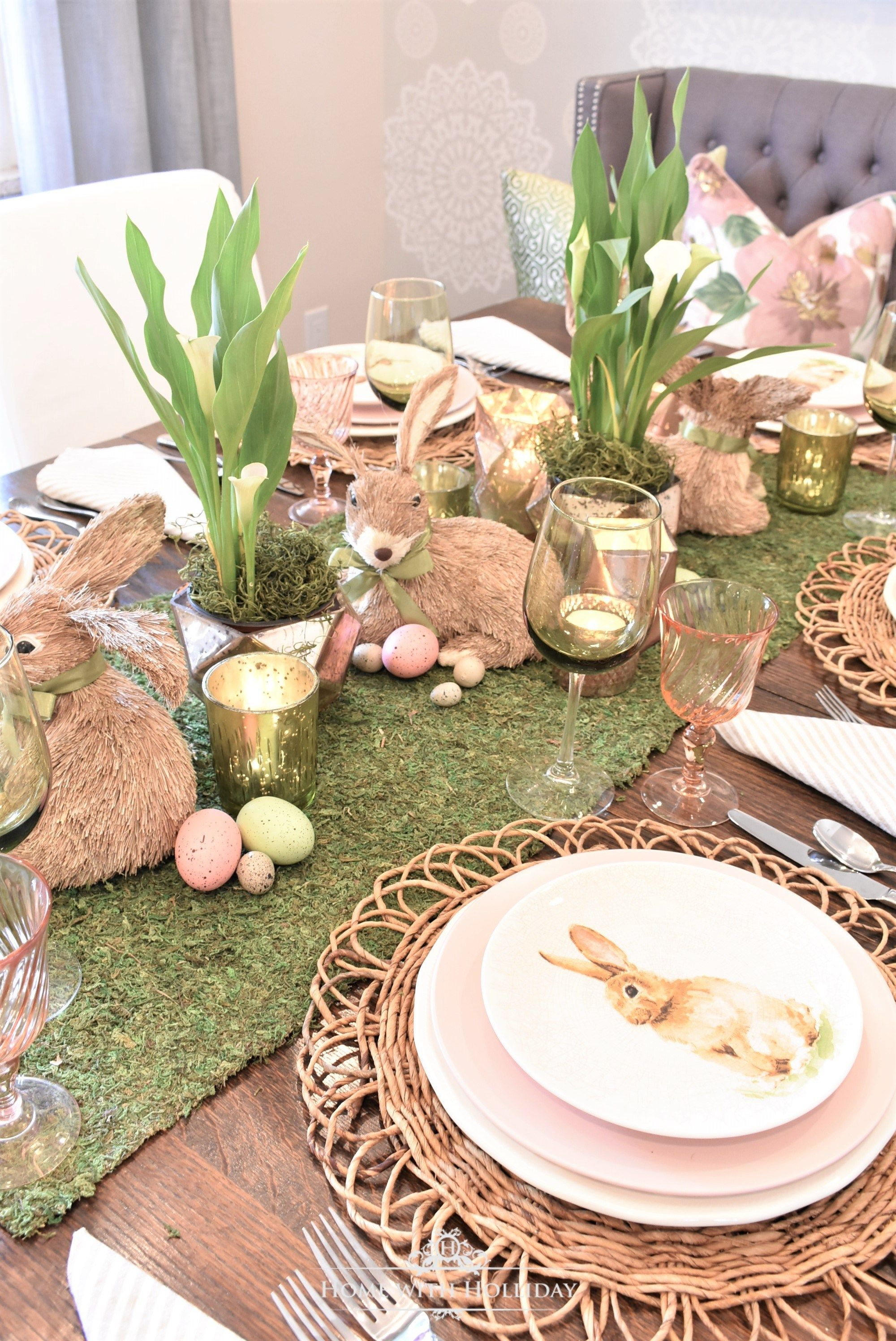 Green And Blush Pink Easter Table Setting Home With Holliday Easter Table Settings Easter Dinner Table Setting Easter Table Decorations