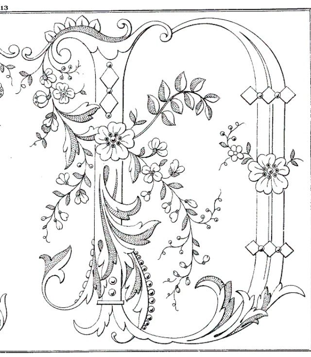 Lettera D Coloring Pages Monogram Letters Hand Embroidery