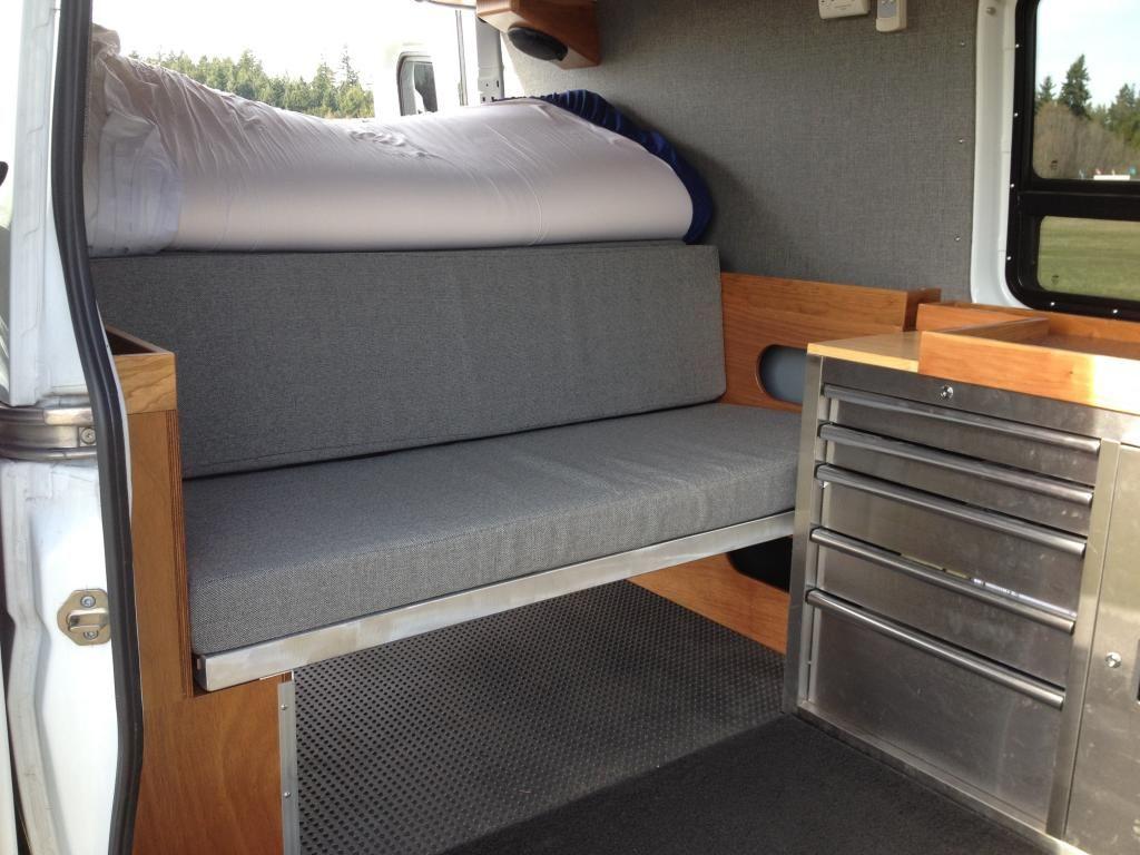 Diy Sprinter Bench Bed And Cabinet Sprinter Camper Sprinter Camper Conversion Van Dwelling
