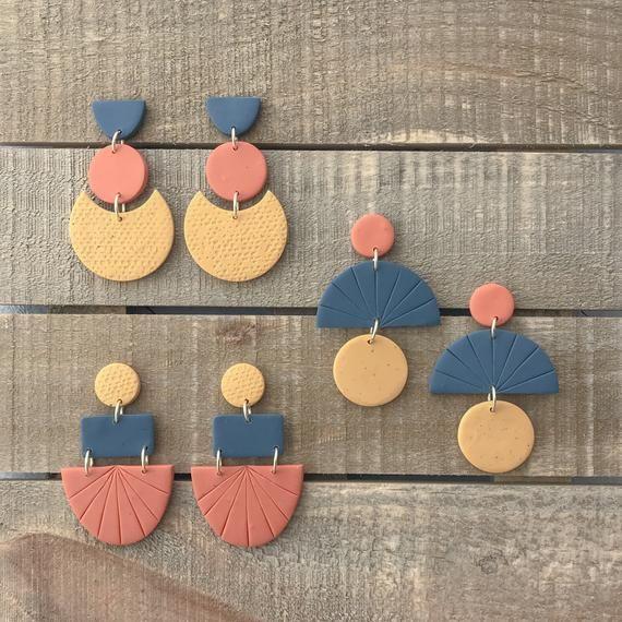 Granite Navy Mustard Slab Earrings; Polymer Clay