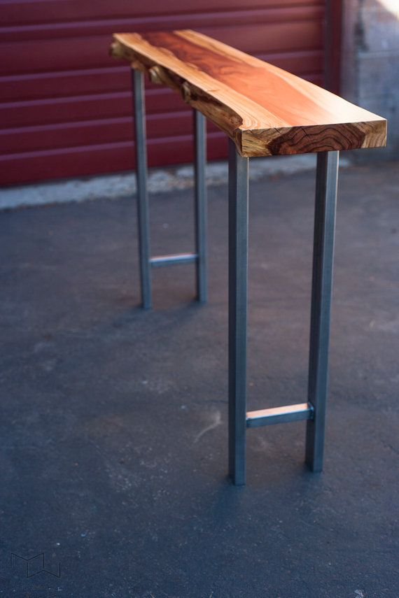 Small Live Edge Console Table Redwood Handmade By