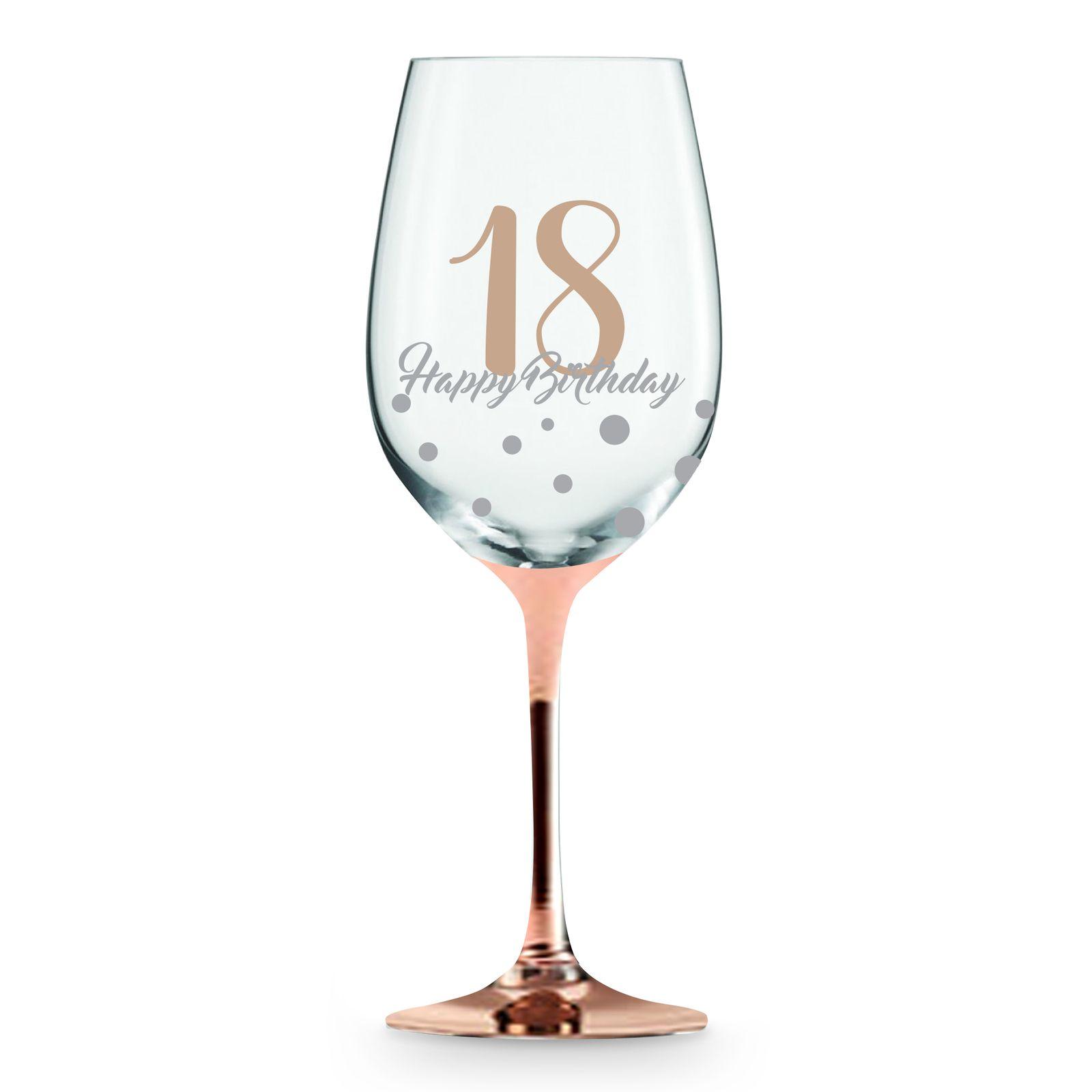 Rose Stem 18th Birthday Wine Glass Birthday Wine Glasses Wine