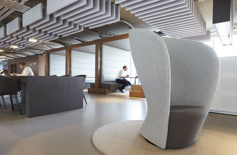 Open space office design by Casper Schwarz C4ID Acoustic baffles