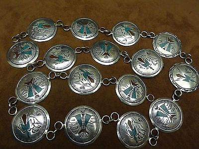 Vintage Tommy Singer Navajo Concho Belt Sterling Silver/Chip inlay 224grs signed - http://elegant.designerjewelrygalleria.com/tommy-singer/vintage-tommy-singer-navajo-concho-belt-sterling-silverchip-inlay-224grs-signed-3/