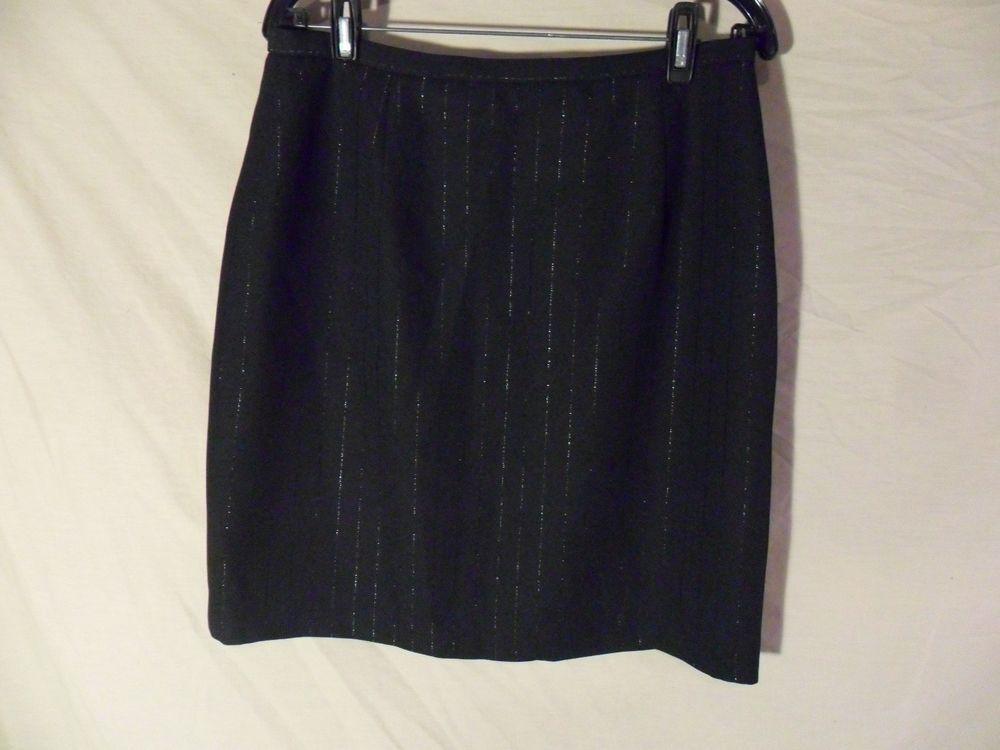 NEW Karen Scott Petites Knee Length Straight Pencil Skirt Black Pinstripe-14 P #KarenScott #StraightPencil