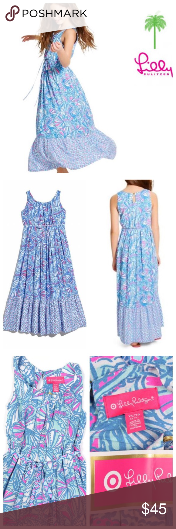 NWT LILLY PULITZER Target blue Maxi DRESS XS 4 5 Sold out and sooo adorable! LILLY PULITZER for Target MY FANS Maxi DRESS in a size XS 4 5      Brand: LILLY PULITZER    Size:  XS / 4 5     Condition:  New with Tags Lilly Pulitzer for Target Dresses Casual