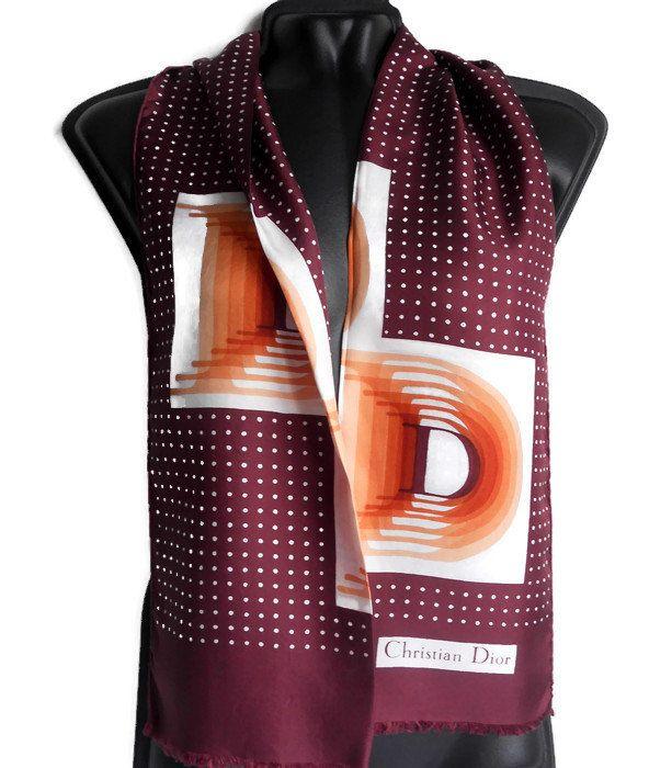 economico per lo sconto 1076f 2d19f Christian Dior logo silk scarf Vintage 90s designer Silk ...