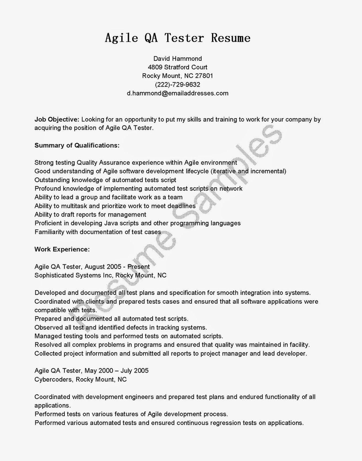 Qa Tester Resume No Experience Comfortable Resume Samples Agile Qa Tester Resume Of 25 Popula