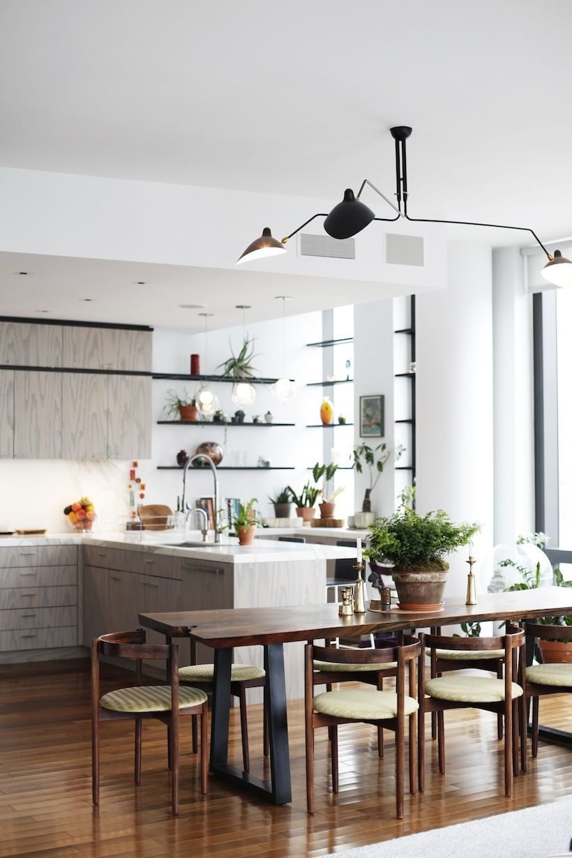 modern kitchen with grey cabinets & open shelving / modern dining room