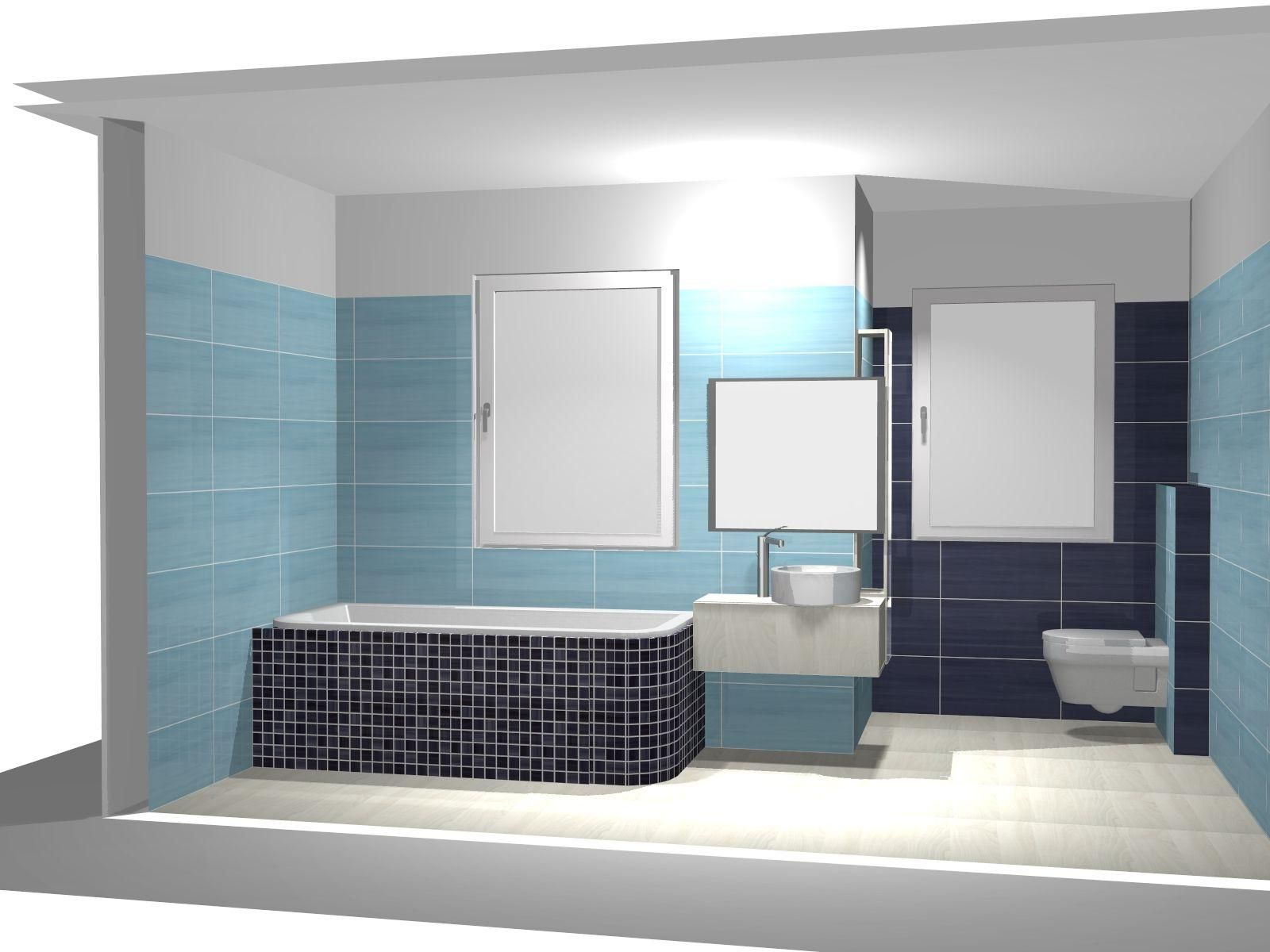 Contemporary Bathroom Decoration Ideas With Blue Tile Wall As Well ...