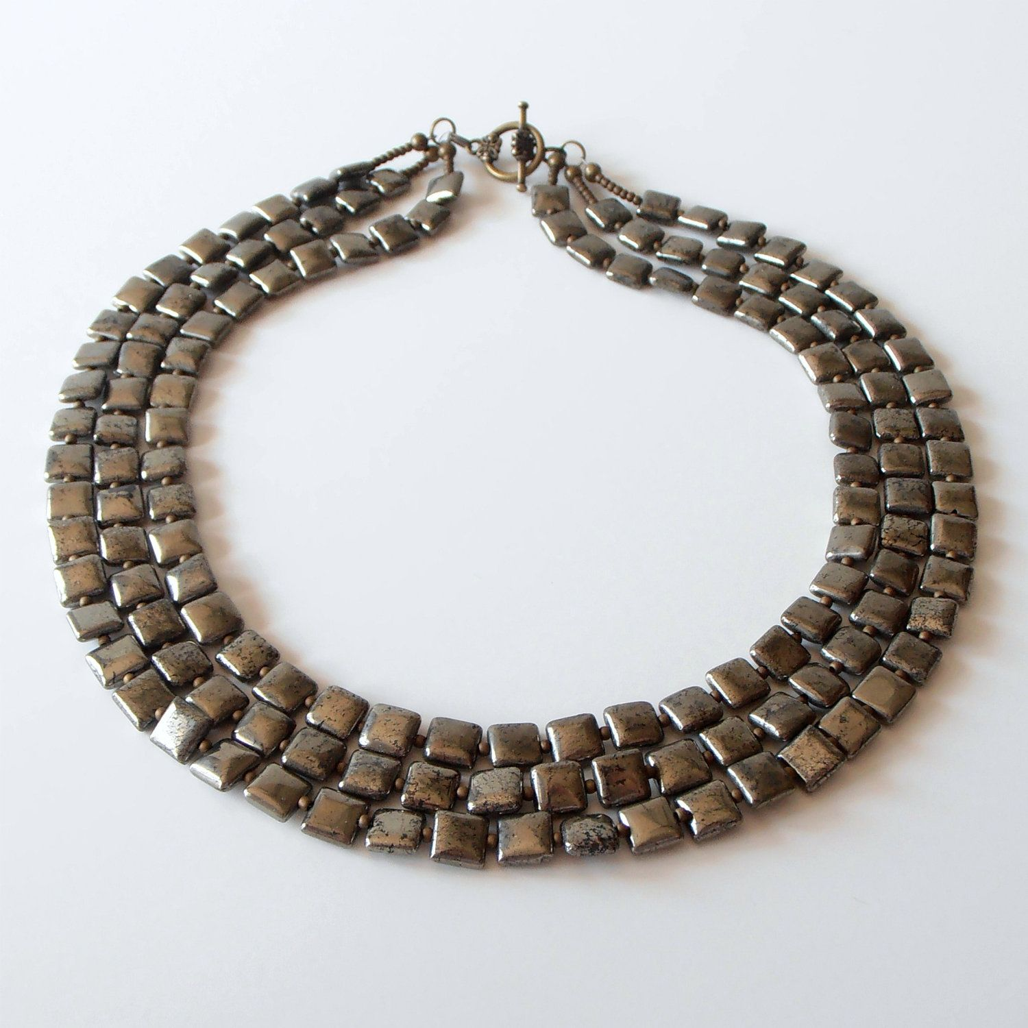 Pyrite Multi Strand Beaded Gemstone Necklace in Antiqued Bronze