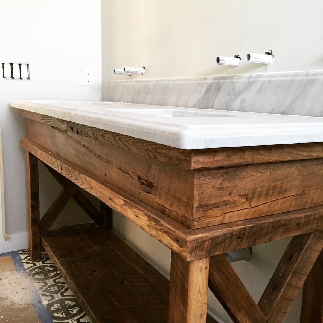 Sneak peek at a custom hall bath vanity we made reclaimed for Recycled bathroom sinks