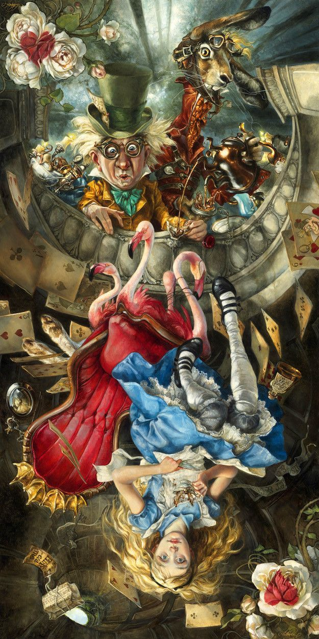 """- Inspired by Lewis Carroll's Alice - Lithograph - Limited Edition of 1000 - Approximately 10"""" x 20"""" Heather Theurer Artist Bio Looking back over the past twenty years, Heather Theurer has realized th"""