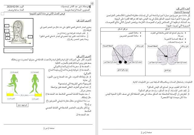 فرض العلوم الطبيعية للفصل الثاني السنة الرابعة متوسط الجيل الثاني Word Bullet Journal Journal