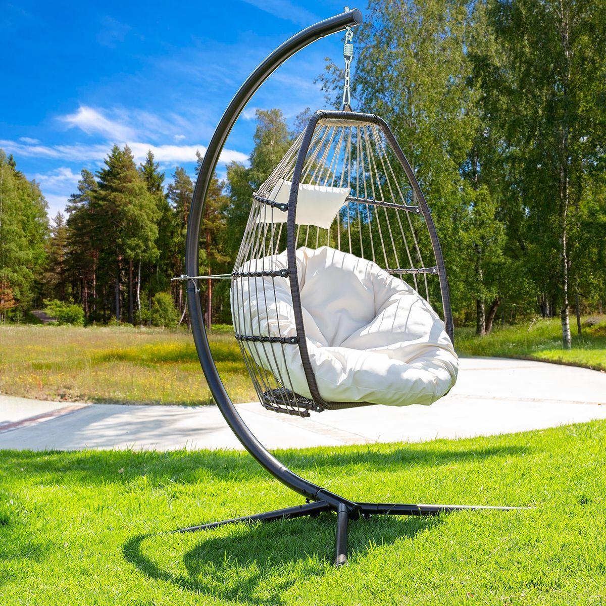 Barton Basket Chair Cream Cushion Egg Fluffy