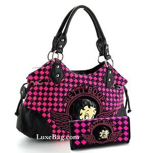 Pink And Black Checkered Clutch Betty Boop Purse Wallet