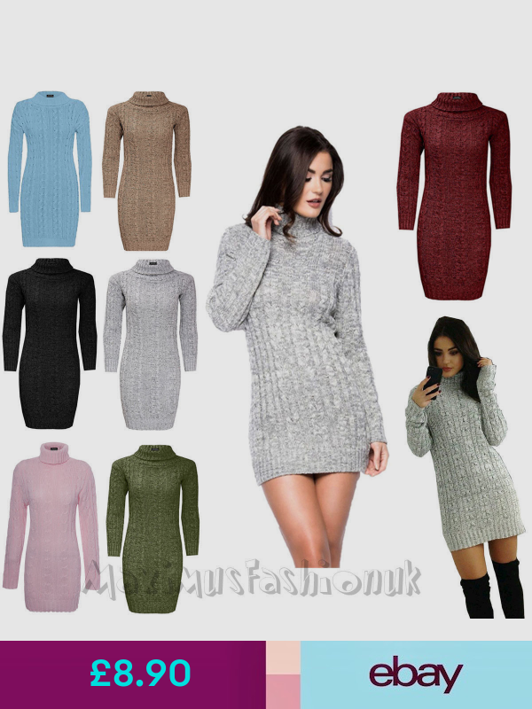 NEW LADIES WOMENS CABLE KNITTED POLO ROLL NECK LONG SLEEVE STRETCH  JUMPER DRESS