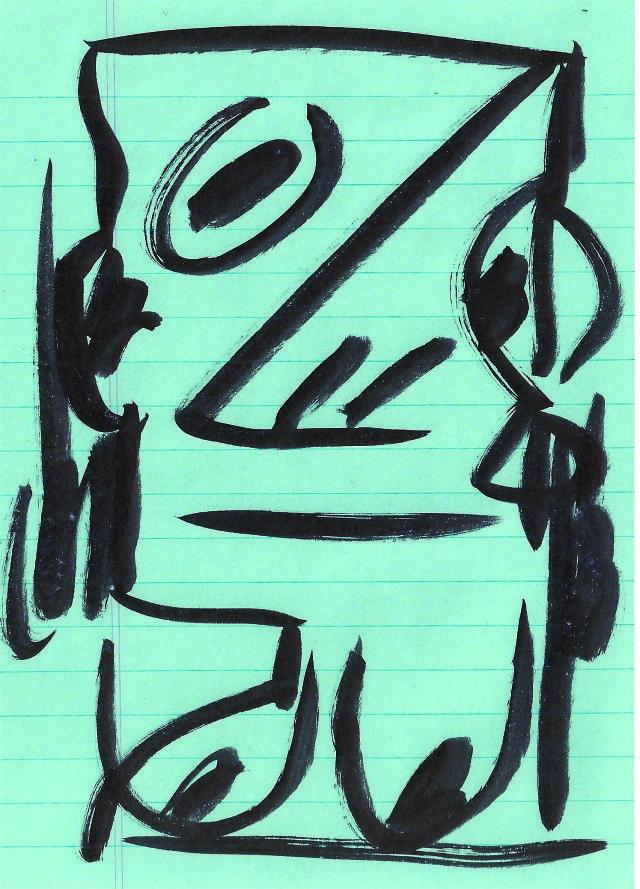"Devendra Banhart, "" Self-Portrait"" (2013), ink on paper"