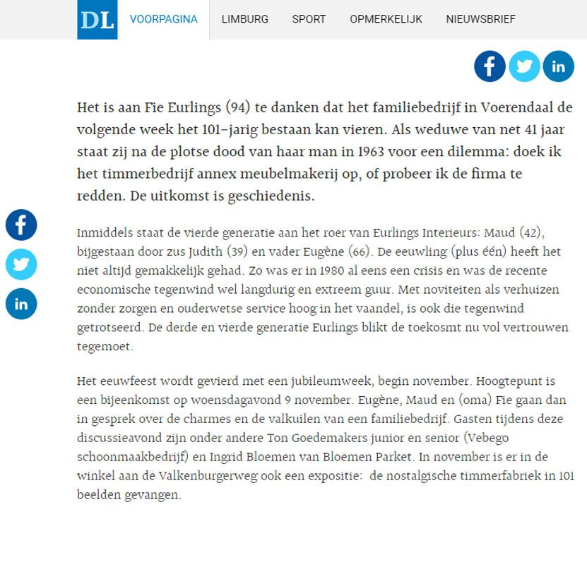 Krantenartikel De Limburger 29 oktober 2016: 101 jaar Eurlings ...