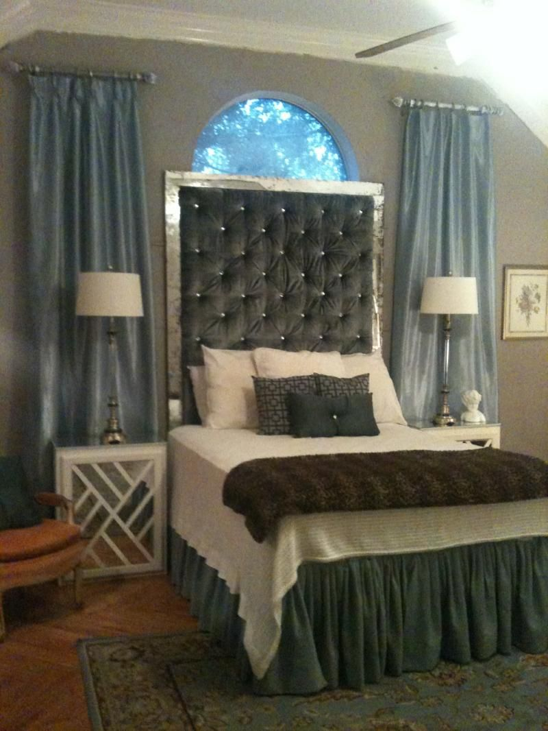 My Diy Tufted Headboard With Antique Mirror Frame I Made Almost