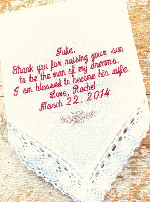 Hawaiian Embroidered Wedding MIL Handkerchief Monogrammed custom handkerchiefs personalized hankie gift embroidery mother in law