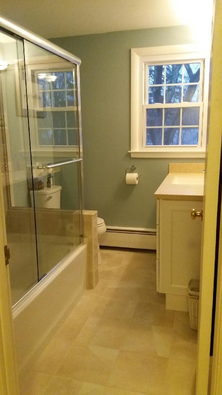 Bathroom Floors are Classic Pulpis Ivory 12\