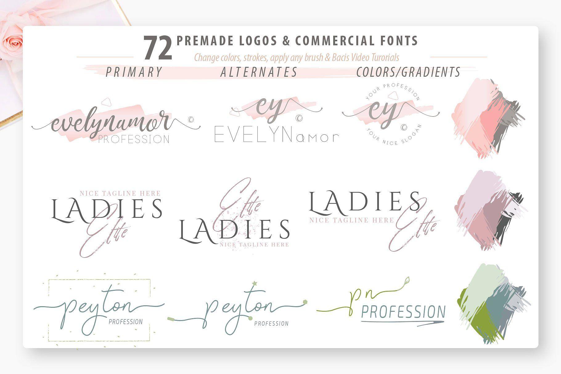 Download Ladyholic Premade Logo Branding Pack | Premade logo, Free ...